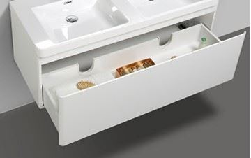 Picture of Milan WHITE double bathroom cabinet  body 1200 mm L 1 drawer