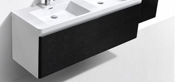 Picture of Milan WHITE and BLACK double bathroom cabinet  body 1200 mm L 1 drawer