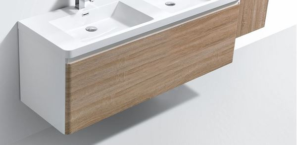 Picture of Milan WHITE and WHITE OAK double bathroom cabinet  body 1200 mm L 1 drawer