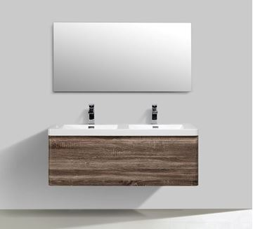 Picture of Milan SILVER OAK Contemporary double bathroom cabinet SET 1200 mm L with single drawer